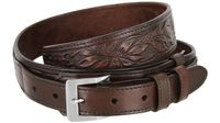 "1026 Traditional Ranger Floral Embossed Full Grain Leather Belt - 1 1/2"" - 1"" Wide BROWN"