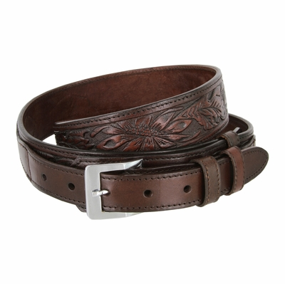 "1026 Traditional Ranger Floral Embossed Full Grain Leather Belt - 1 1/2"" Wide - Billet 1"" - BROWN"