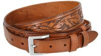 "1026 Traditional Ranger Floral Embossed Full Grain Leather Belt - 1 1/2"" Wide - Billet 1"" - TAN"