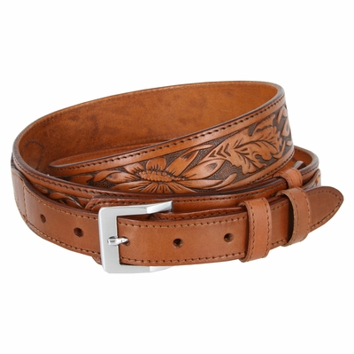 "1026 Traditional Ranger Floral Embossed Full Grain Leather Belt - 1 1/2"" - 1"" Wide TAN"