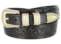 "1033 Traditional Ranger Floral Embossed Full Grain Ranger Belt - 1 1/2"" Wide - Billet 1"" - BLACK"