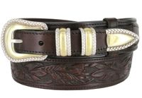 "1033 Traditional Ranger Floral Embossed Full Grain Ranger Belt - 1 1/2"" - 1"" BROWN"