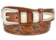 "1033 Traditional Ranger Floral Embossed Full Grain Ranger Belt - 1 1/2"" Wide - Billet 1"" - TAN"