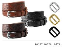"""1021 Traditional Ranger Floral Tooled Full Grain Leather Belt - 1 1/2"""" Wide - 3/4"""" Billet - 3 COLORS AVAILABLE"""