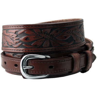 "1021 Traditional Ranger Floral Tooled Full Grain Leather Belt - 1 1/2"" - 3/4"" Wide BROWN"