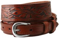 "1021 Traditional Ranger Floral Tooled Full Grain Leather Belt - 1 1/2"" - 3/4"" Wide TAN"