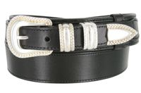 "1032 Traditional Ranger Full Grain Leather Belt - 1 1/2"" Wide - Billet 1"" - BLACK"
