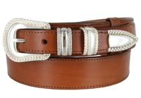 "1032 Traditional Ranger Full Grain Leather Belt - 1 1/2"" - 1"" Wide TAN"