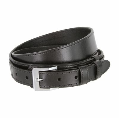"1024 Traditional Ranger Full Grain Smooth  Leather Belt - 1 1/2"" - 1"" Wide BLACK"