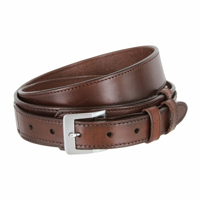 "1024 Traditional Ranger Full Grain Smooth Leather Belt - 1 1/2"" - 1"" Wide BROWN"