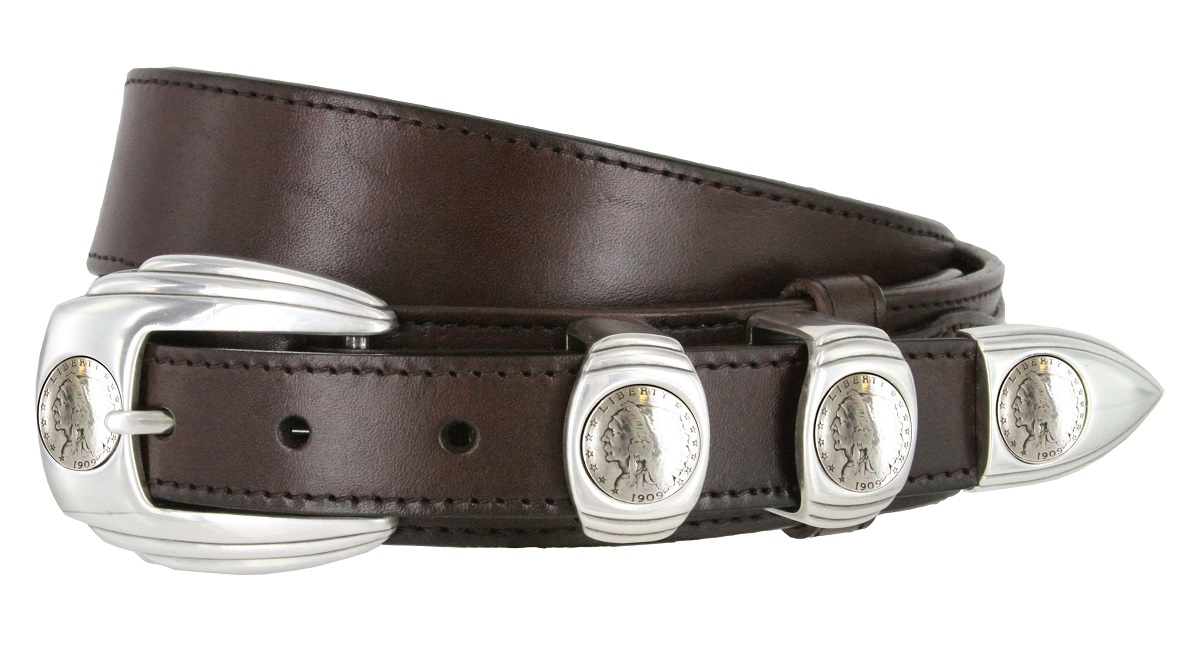 traditional ranger full grain smooth leather belt indian coin buckle
