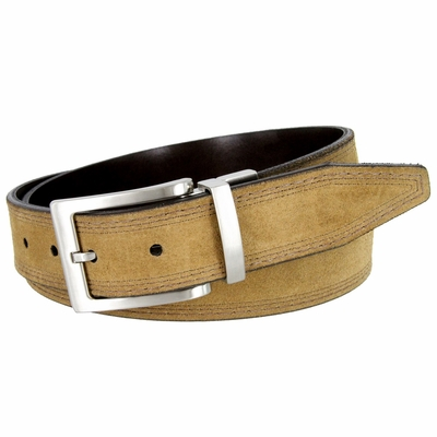 "31094 Triple Stitched Design Reversible Suede Smooth Leather Dress Belt 1-3/8"" wide - 31094"