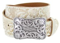 """Western Floral Tooled Casual Jean Leather Belt - 1 1/2"""" wide"""