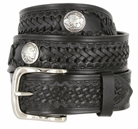 "Western Scorpion King Hand Woven Genuine Leather Belt - 1 1/2""  Wide - BLACK"