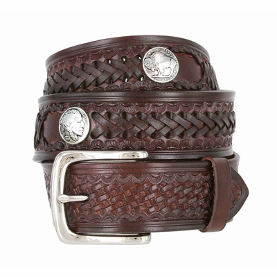"Western Scorpion King Hand Woven Genuine Leather Belt - 1 1/2""  Wide - BROWN"