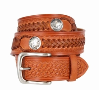 "Western Scorpion King Hand Woven Genuine Leather Belt - 1 1/2""  Wide - TAN"