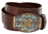 "Western Tooled Full Grain Leather Belt - 1 1/2"" wide"