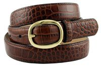 "Women's Italian Leather Designer Dress Belt 1"" Wide - BROWN"