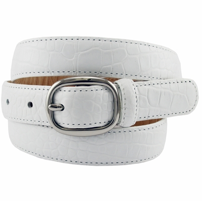 "Women's Italian Leather Designer Dress Belt 1"" Wide - WHITE"