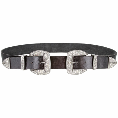 "Women's One Piece Hand Made Full Grain Genuine Leather Clear Rhinestone Double Buckle Set Belt - 1 1/2"" Wide"