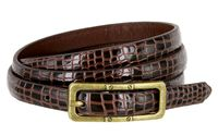 7015 Women's Skinny Alligator Skin Embossed Leather Casual Dress Belt with Buckle - Brown