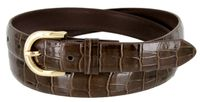 7035 Women's Skinny Alligator Skin Embossed Leather Casual Dress Belt with Buckle - Brown
