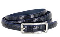 Women's Skinny Alligator Skin Embossed Leather Casual Dress Belt with Buckle - Navy