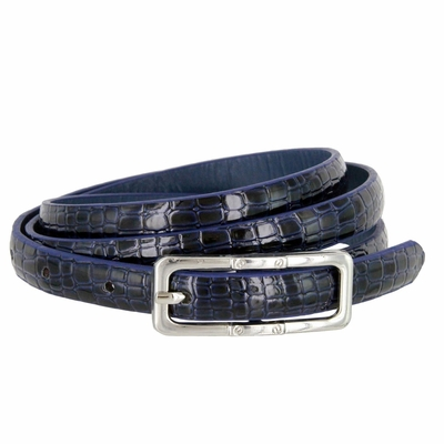 7015 Women's Skinny Alligator Skin Embossed Leather Casual Dress Belt with Buckle - Navy
