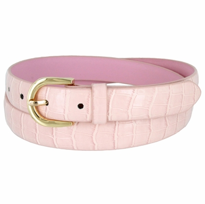 7035 Women's Skinny Alligator Skin Embossed Leather Casual Dress Belt with Buckle - Pink