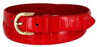 Women's Skinny Alligator Skin Embossed Leather Casual Dress Belt with Buckle - Red