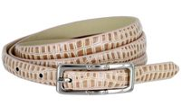 7015 Women's Skinny Alligator Skin Embossed Leather Casual Dress Belt with Buckle - Tan