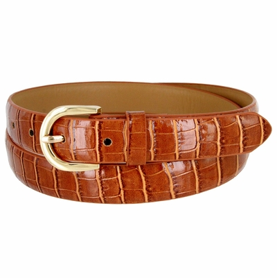 7035 Women's Skinny Alligator Skin Embossed Leather Casual Dress Belt with Buckle - Tan