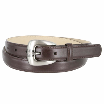 Women's Skinny Genuine Smooth Leather Casual Dress Belt with Buckle - Brown