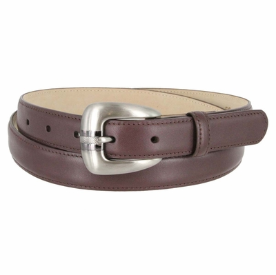 Women's Skinny Genuine Smooth Leather Casual Dress Belt with Buckle - Burgundy