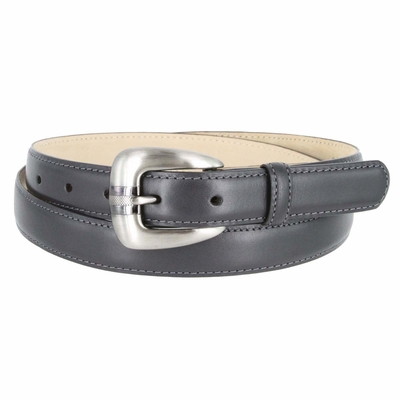Women's Skinny Genuine Smooth Leather Casual Dress Belt with Buckle - Gray