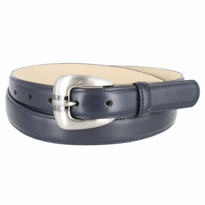Women's Skinny Genuine Smooth Leather Casual Dress Belt with Buckle - Navy