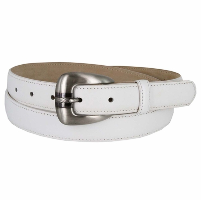 Women's Skinny Genuine Smooth Leather Casual Dress Belt with Buckle - White