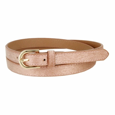 Women's Skinny Leather Casual Dress Hair-on Fur Belt with Gold Plated Buckle - Tan