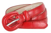 "Women's Skinny Snakeskin Embossed Genuine Leather Dress Belts 3/4"" or 19mm - Red"