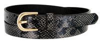 Women's Skinny Snakeskin Embossed Leather Casual Dress Belt with Buckle - Black