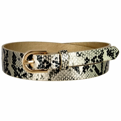 Women's Skinny Snakeskin Embossed Leather Casual Dress Belt with Buckle - Gold