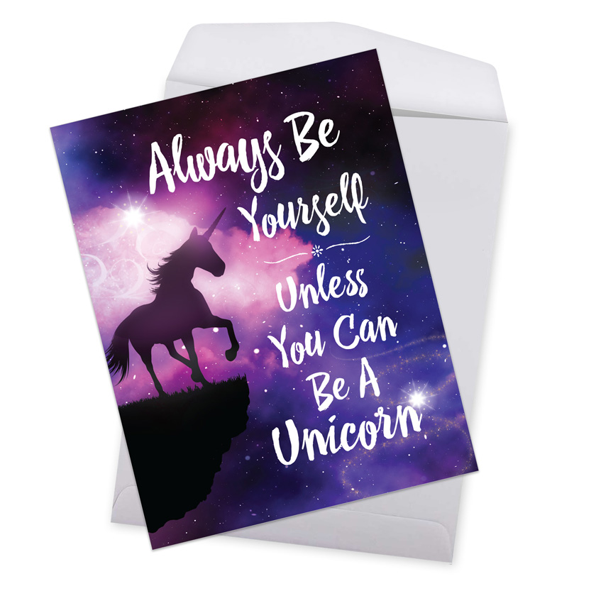 Be A Unicorn Humorous Birthday Over Sized Paper Greeting Card