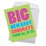 Humorous Baby Jumbo Paper Greeting Card From NobleWorksCards.com - Big New Baby Congrats image 2
