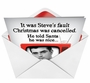 Humorous Christmas Printed Greeting Card from NobleWorksCards.com - Christmas is Cancelled image 2