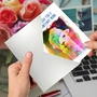 Stylish Birthday Paper Greeting Card From NobleWorksCards.com - Funky Rainbow Llamas image 5