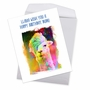 Creative Birthday Jumbo Printed Greeting Card From NobleWorksCards.com - Funky Rainbow Llamas image 2