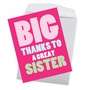 Hilarious Sister Thank You Jumbo Printed Greeting Card From NobleWorksCards.com - Great Sister image 3