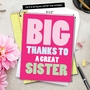 Hilarious Sister Thank You Jumbo Printed Greeting Card From NobleWorksCards.com - Great Sister image 6