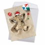 Stylish Merry Christmas Jumbo Paper Card From NobleWorksCards.com - Holiday Sand Angels - Cat image 2