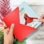 Funny Merry Christmas Paper Greeting Card By Ashley Spires From NobleWorksCards.com - Holiday Yoganimals-Bird image 2